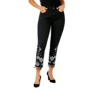Black ankle jeans with embroidery and beading